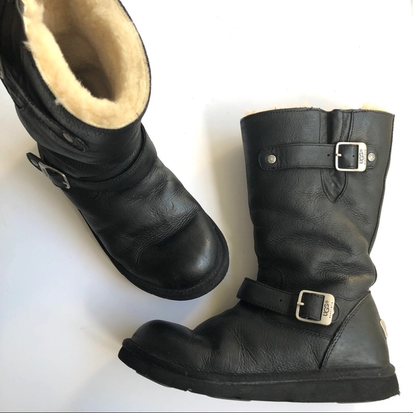 1dca988a912 UGG KENSINGTON BLACK LEATHER SHEEPSKIN BOOTS 5678